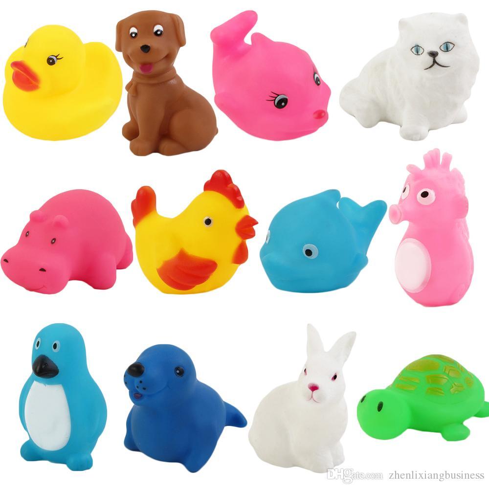 2018 Baby Bath Toys Water Floating Dolls Animal Cartoon Sound Rattle ...
