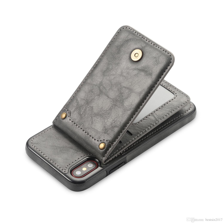 Vertical Flip Ledertasche für iPhone X 7 Plus Retro Hülle für iPhone 8 Plus Wallet Kartenhalter 2 in 1 Beutel