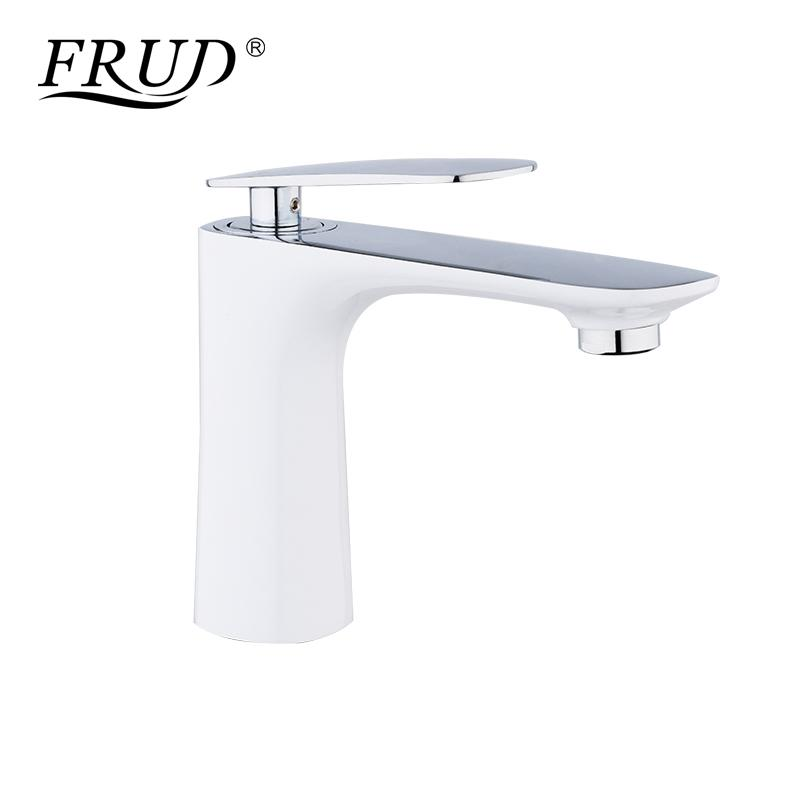 2019 Wholesale Basin Faucets Modern White Chrome Brass Bathroom Sink