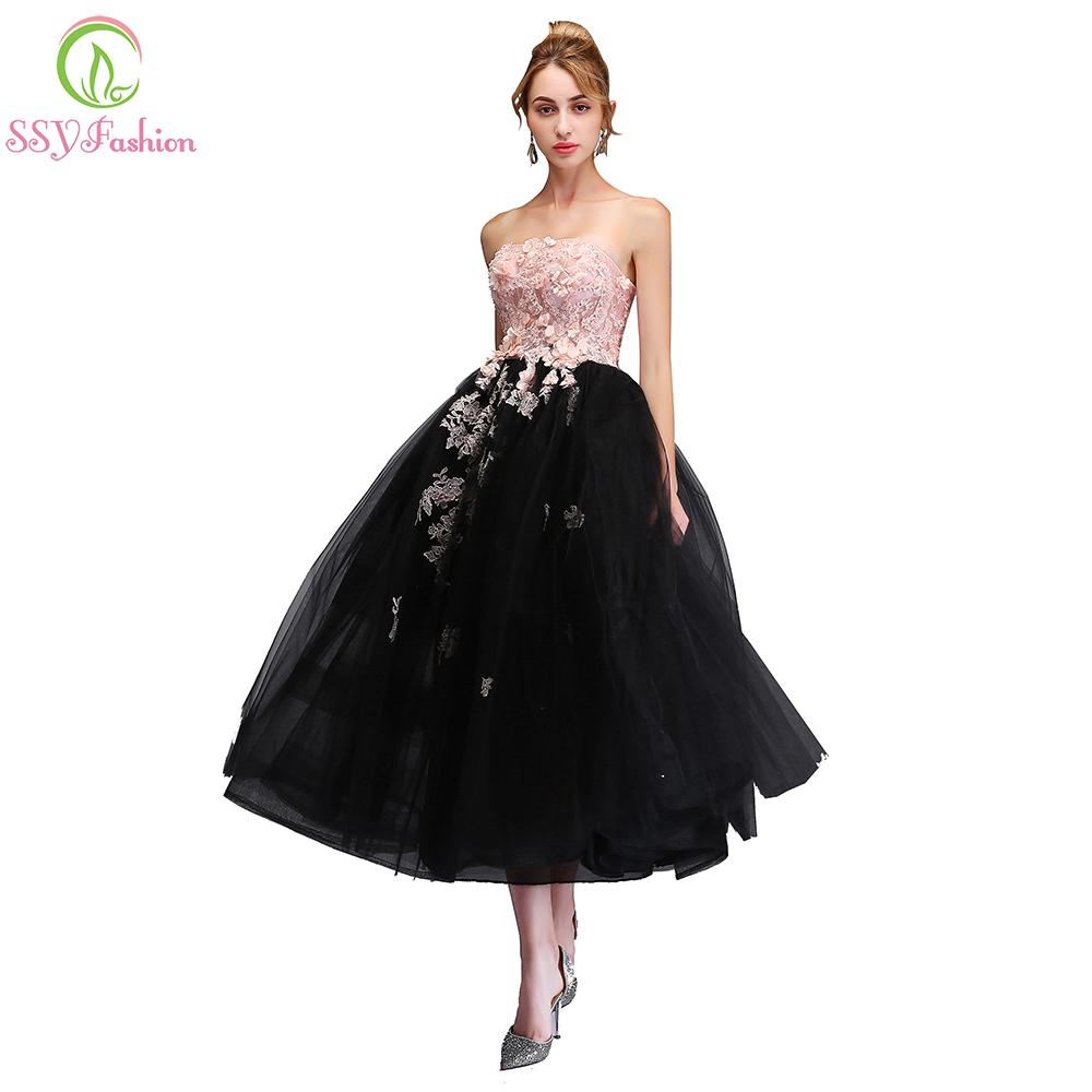 2019 SSYFashion 2018 New Sweet Pink With Black Evening Dress Strapless  Sleeveless Lace Appliques Tea Length Party Gown Formal Dresses C18111601  From ... aee0c11876eb