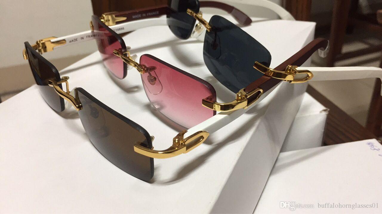 63bb5d9d730 Compre Gafas De Sol De Lujo Sin Montura Gafas De Cuerno De Búfalo Con Marco  De Madera Piernas Gafas De Sol Para Mujer Para Diseñador De La Marca Mejor  ...