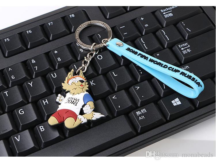 World Cup Keychain 2018 Russia World Cup Mascot Keychain Football Souvenir PVC ZABIVAKA WOLf Soccer Key Ring