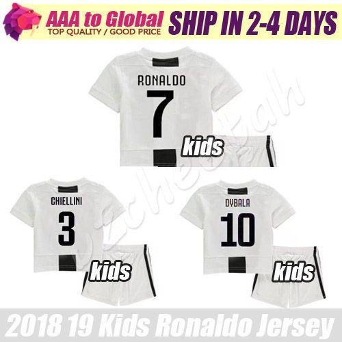 size 40 ae749 30327 Kids Ronaldo soccer jersey kit 2019 Children Ronaldo football shirts Dybala  Chiellini Mandzukic Pjanic Dani Alves young soccer jersey sets