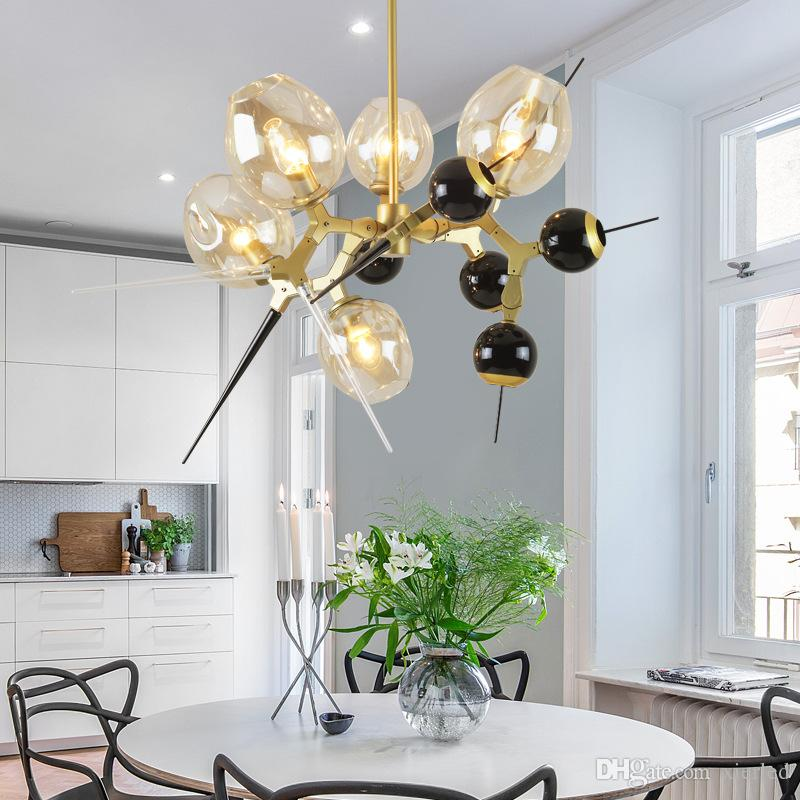 Modern Simple Nordic Designer Creative Living Room Dining Room Villa Glass  Ball Molecular Droplight Lindsey Adelman Burst Deco Pendant Lamp Vintage  Pendant ...
