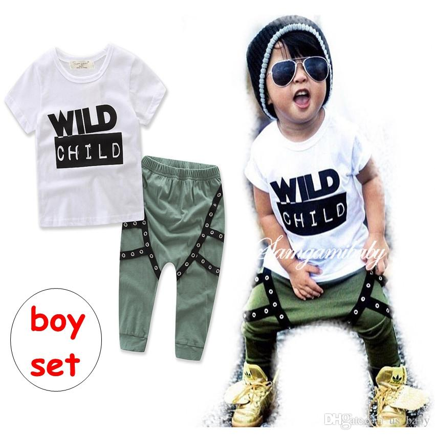 7b8cae9656f5 2019 WILD CHILD Print Boys Outfit Children Spring Summer Short Sleeve Shirt    Harem Pant Clothing Set From Us baby
