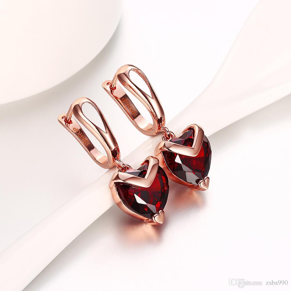 Il prezzo all'ingrosso di fabbrica 18K oro rosa ha placcato gli orecchini di goccia rossi del cuore di zircon della donna i regali di cerimonia nuziale dei monili del partito di modo Trasporto libero