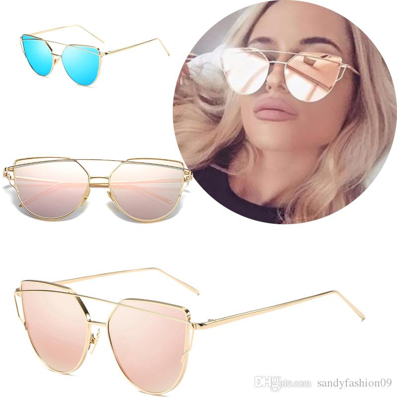 53778fd4317ff Cat Eye Vintage Brand Designer Rose Gold Mirror Sunglasses For Women ...