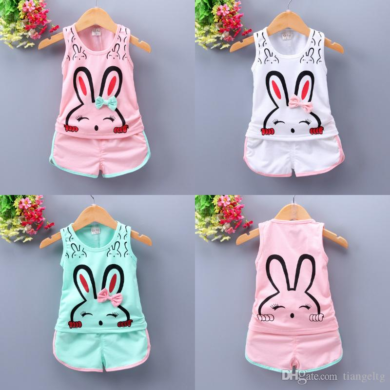 Toddler Girls Tops+Shorts Suit Lollipop Rabbits 8 Designs Cartoon Printed Kids Two-piece Clothing Sets Lotus Leaf Sleeve Cotton 6M-4T