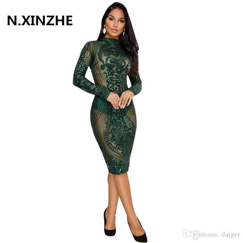 06a0c4c5172 Night Club Dresses 2018 New Year Sexy Sequin Dress Bodycon New Fashion Long  Sleeve Bandage Dress Celebrity Glitter Vestidos B373