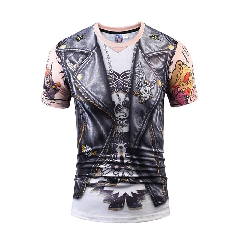 25styles 3d t shirt printed tshirt Men's women short sleeve casual t-shirt cool summer tops tees t shirt Skull Fake two pieces style fashion