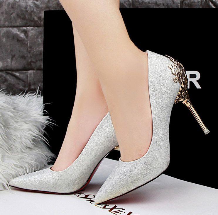 Mütevazı Lüks Marka Düğün Ayakkabı Glitter Sequins Örgün Parti Köpüklü Tek Elmas Gelin Yüksek Topuk Bahar Yeni Gelin Ayakkabıları