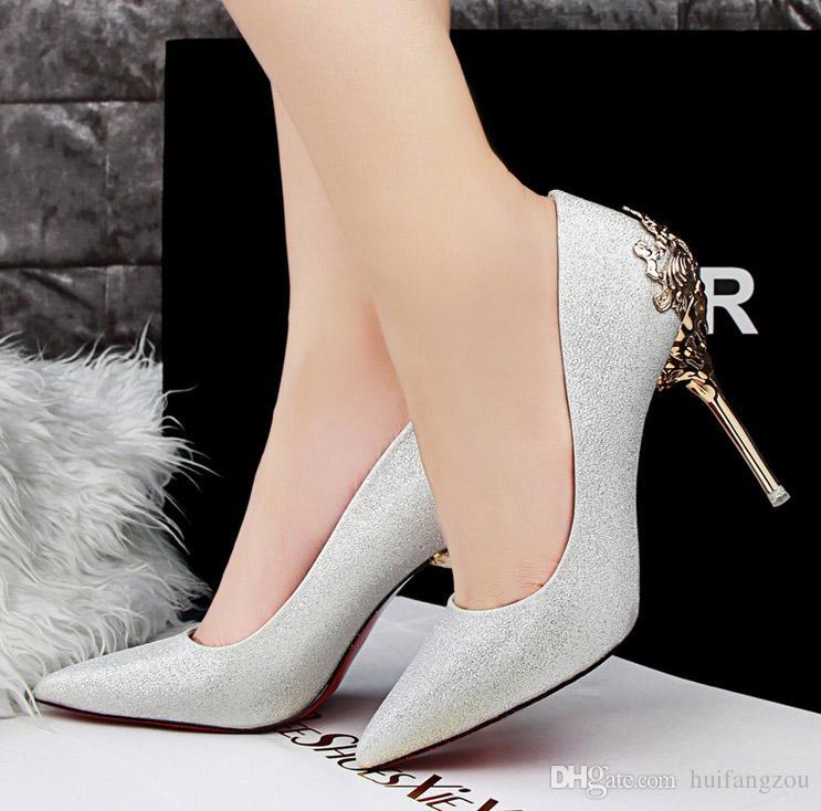 Zapatos de boda de marca de lujo modestos Brillo de lentejuelas Fiesta formal Espumoso Un solo diamante Nupcial Tacón alto Primavera Zapatos nupciales más nuevos