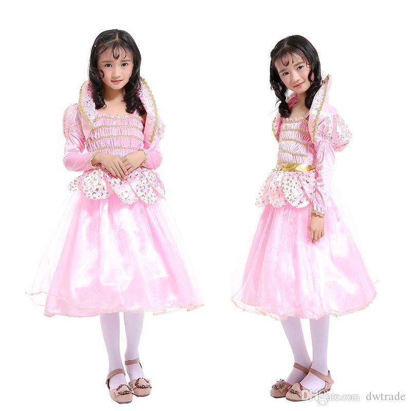 fd188cd308f Acheter Costumes De Jour Pour Enfants Filles Lotus Fée Rose Élégante Taille  Bow Princesse Robe Performance Vêtements Été Jolies Vêtements Pour Enfants  De ...