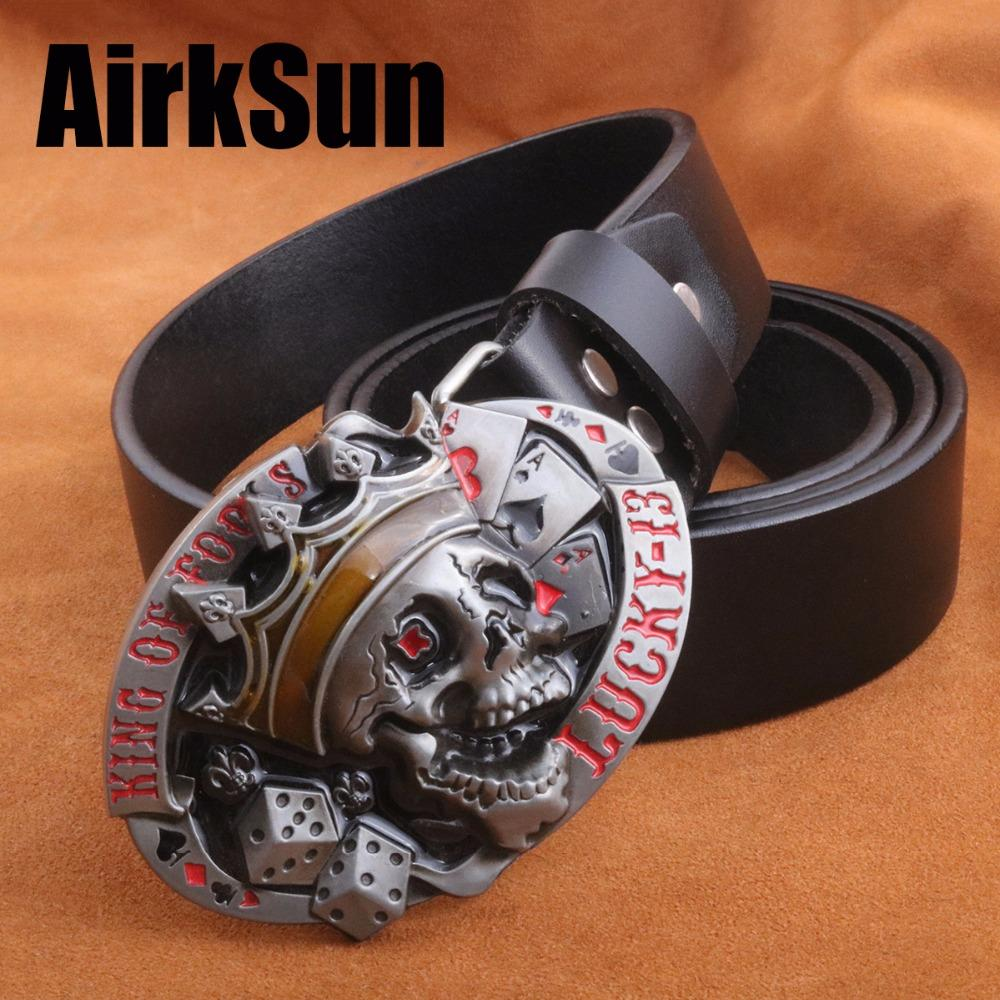 AirkSun2017 Punk Big Size Mens Army belts luxury Buckle for men Cowskin Soild Genuine leather wide Belt Men Cinto Masculino