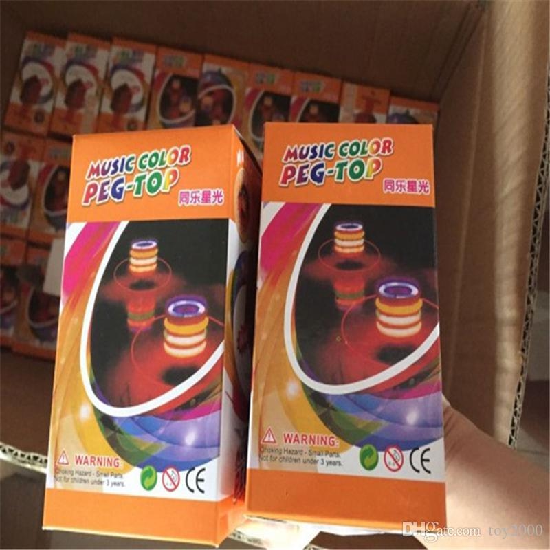 Детские игрушки непоседа spinner музыкальный гироскоп вспышка светодиодные красочные спиннинг имитация дерева гироскоп блеск 7 цвет музыка свет Земли игрушка завод