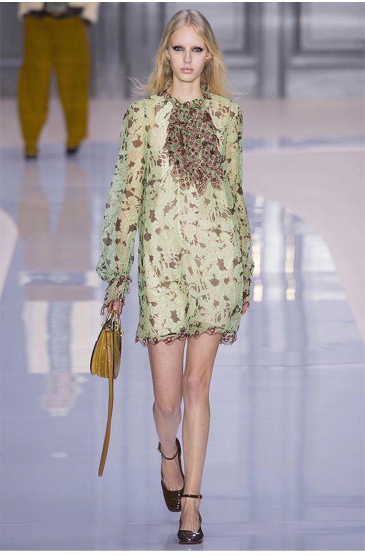 a00d29b52b8ec4 Großhandel 2018 Herbst Grün Designer Kleid Stehen Lange Ärmel Drucken  Stickerei Damen Kleid Marke Gleichen Stil Vestidos 90710 Von  Michellayao123, ...
