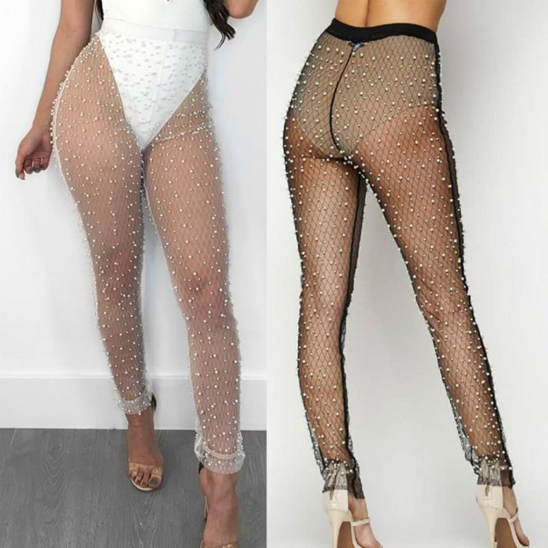 Sexy Womens Beadings Stretch Pencil Pants Summer Ladies See Through Long Pants Trousers Mesh Sheer High Waist Pantyhose Pantalon
