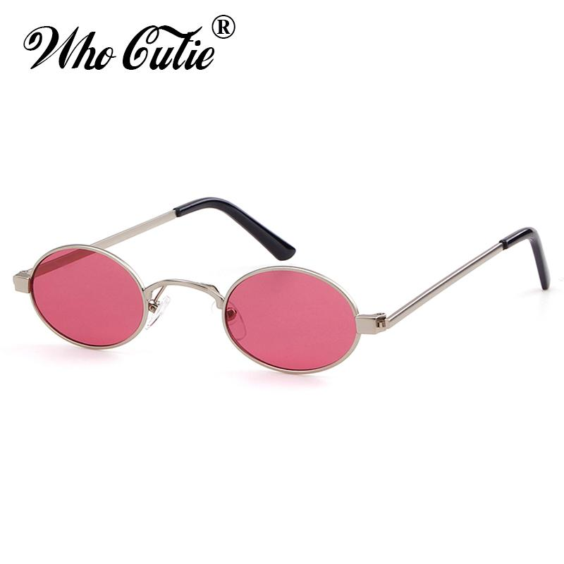 aced31e2cc16 WHO CUTIE 2018 Small Oval Sunglasses Women Men Brand Designer 90S Retro  Slim Skinny Sun Glasses Red Tint Transparent Shades 537 Electric Sunglasses  Fastrack ...