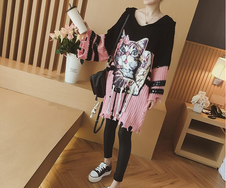 Spring 2018 New loose-sleeved long-sleeved sequined knitted dress with long cap and cartoon dress