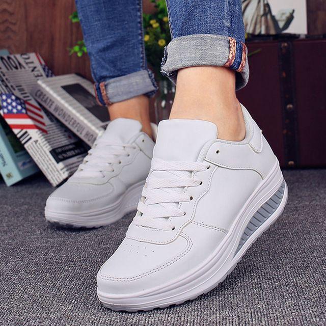 aea70c5e Compre Zapatillas De Deporte De Las Mujeres Del Verano Blanco Negro  Plataforma Para Mujer Zapatos Casuales Señoras Cesta Femme Wedges  Zapatillas Deportivas ...