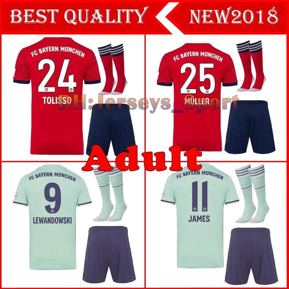2ec3c1553 2019 Bayern Munich Adult Kit 18 19 James Soccer Jersey SOCKS 2018 2019  VIDAL Third LEWANDOWSKI MULLER ROBBEN TOLISSO Away MEN FULL KIT Shirts From  ...