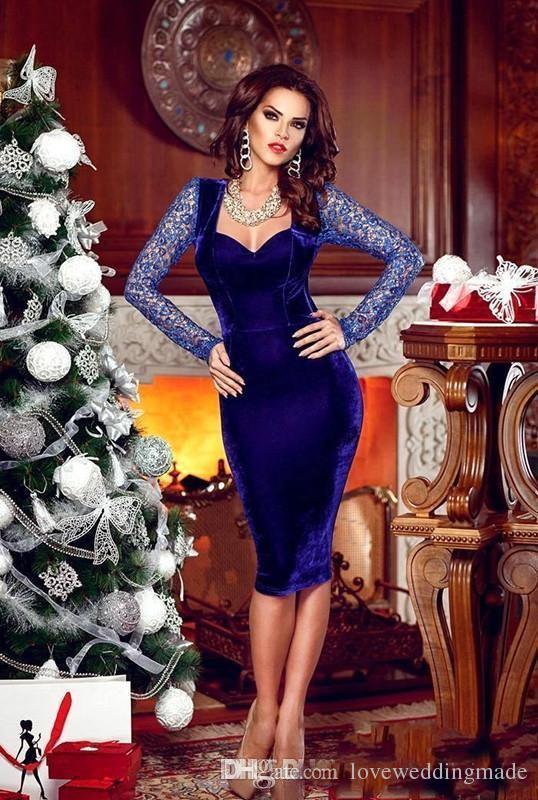 2018 azul real con Encanto longitud de la rodilla cóctel vestidos de partido Backless atractivos largos de manga corta vestidos de baile ocasión formal barato