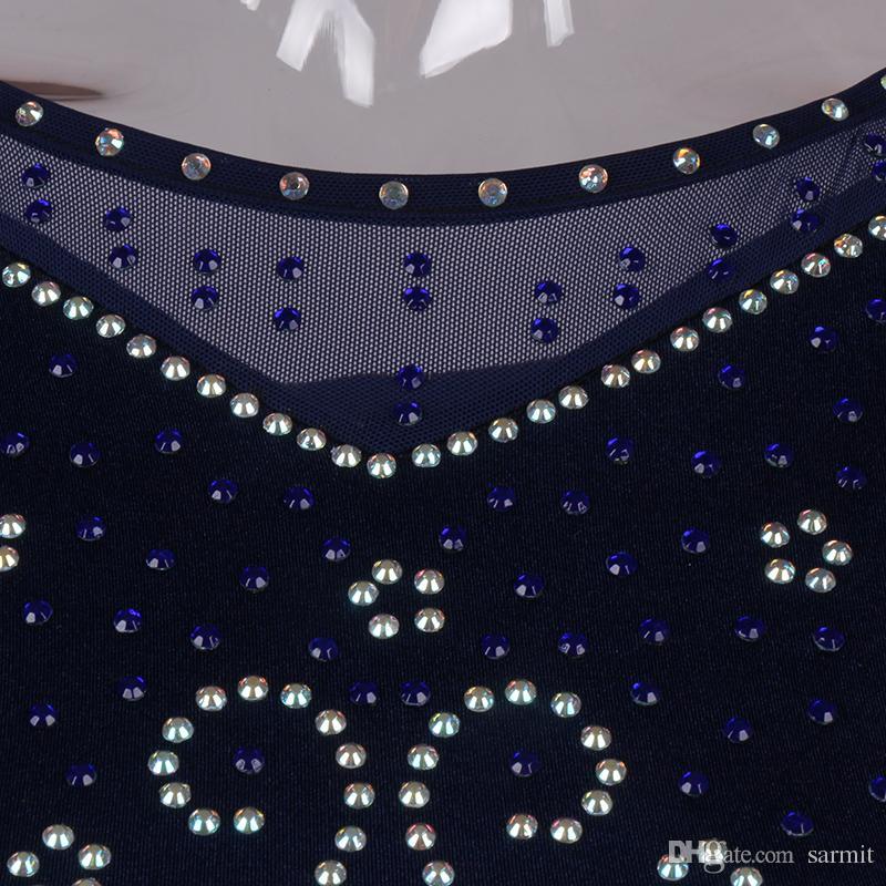 Ballroom Waltz Dresses Dancing Outfits Ballroom Competition Dress Tango Dance Costumes D0985 Rhinestones Big Sheer Hem