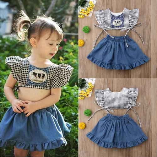 6a7cb2c9dd30 New Pudcoco Infant Baby Girl Clothes Plaids Cow Print Short Petal ...