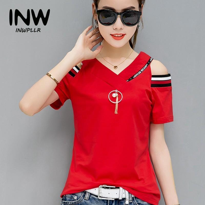 191c0ad91f34a 2018 New Fashion Letters Tops Tees Women T Shirts Summer Short Sleeve  Cotton Tshirt Casual Open Shoulder T Shirt Female Tshirts Y1891306 Funny Shirts  Dress ...
