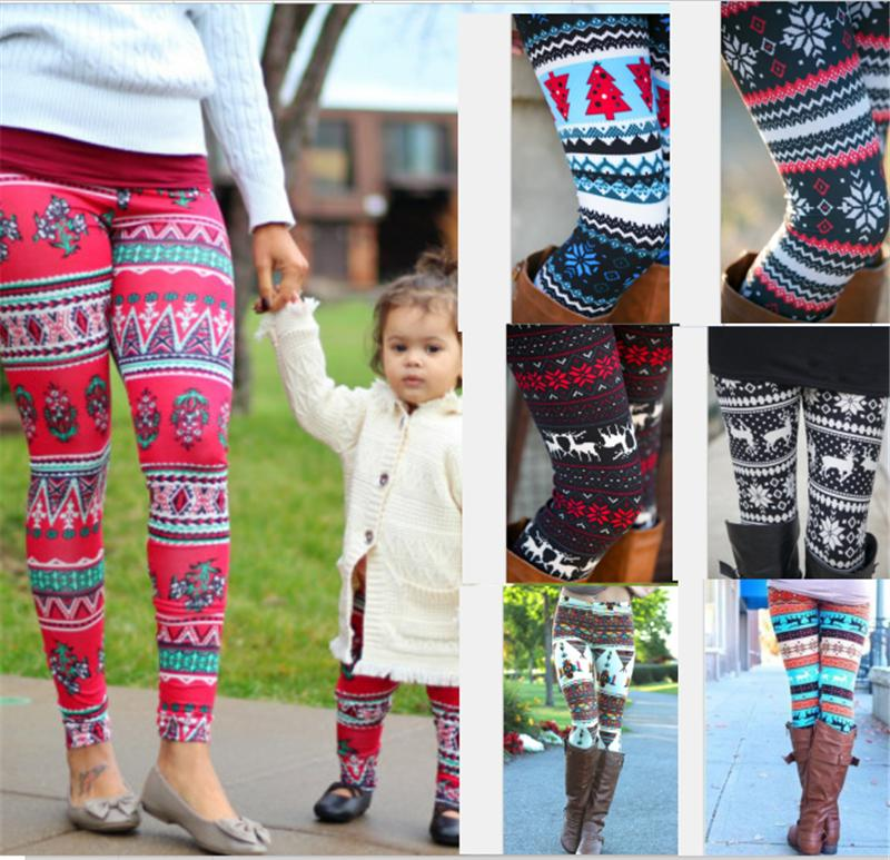 Girls Mom Legging 3D Print Tights Bodycon Pants Trousers Christmas Halloween Snowflake Leggings Xmas 3D Print Family Kids Mother Trousers