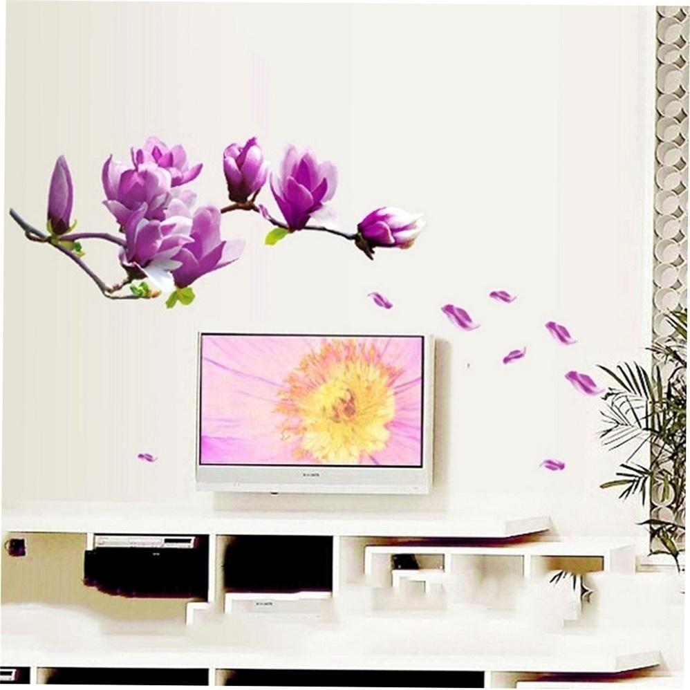 Magnolia pattern removable wallpaper stickers applique magnolia flower for bedroom living room tv te background diy pink wall sticker decorations wall