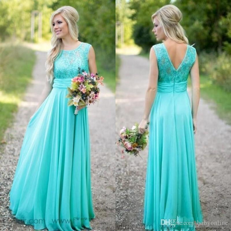 2019 Turquoise Bridesmaids Dresses Sheer Jewel Neck Lace