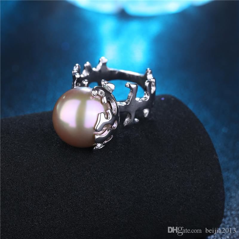 Personnalité Unique À La Mode Bague Or Blanc 3D Fishbone Perle Bague Femmes Femme Cristal Anneaux De Mariage Cadeau Déclaration de mode Bijoux