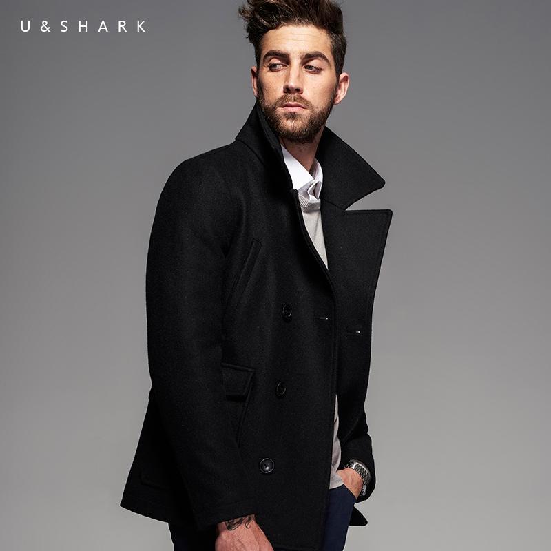 Winter Retro England Style Windproof Black Peacoat Brand Men Gothic Clothing 2016 U&Shark Casual Wool Trench Coat Male Jacket