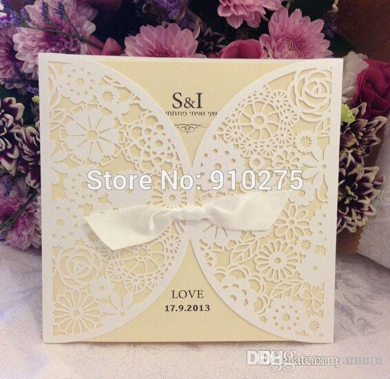 Wholesale Vintage DIY Laser Cut Lace Flower Wedding Invitation Template Invite Card Cover With White Bows 25PCS