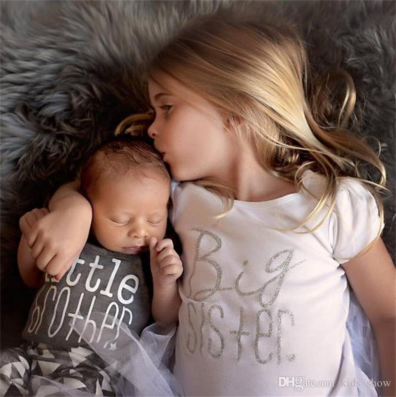 5193a5390e1c 2019 Big Sisters Letters Print T Shirt Little Brother Rompers Cute ...