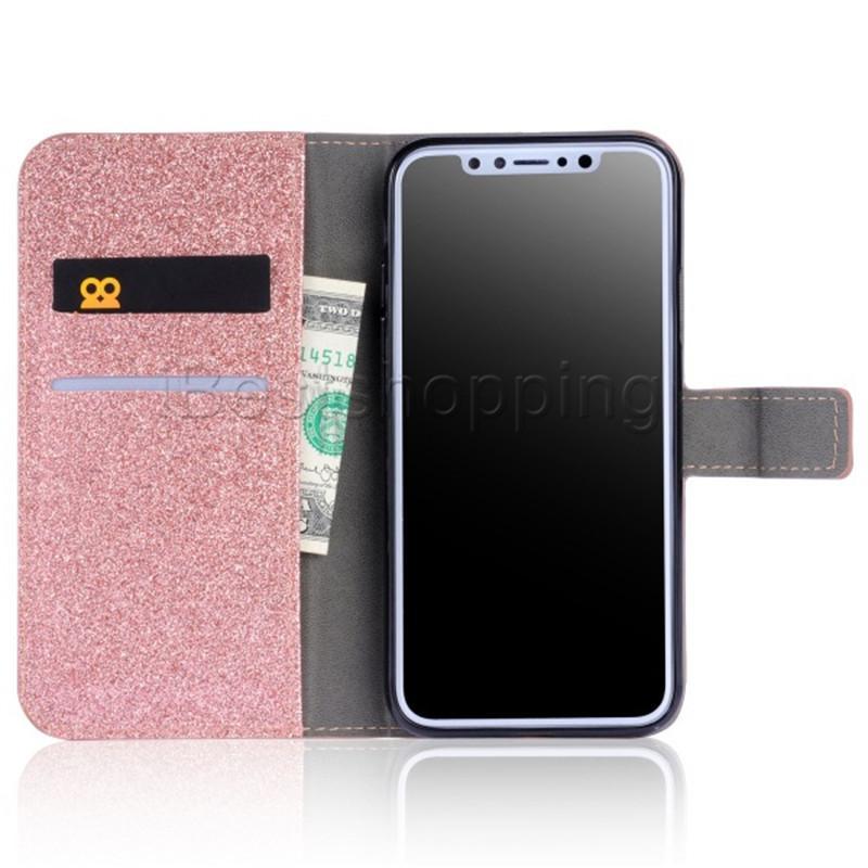 반짝이는 가죽 케이스 다이아몬드 가죽 지갑 커버 파우치 아이폰 X 8 7 6 용 카드 슬롯 삼성 S8 플러스 S7 에지 Note8 용 6S 플러스 5