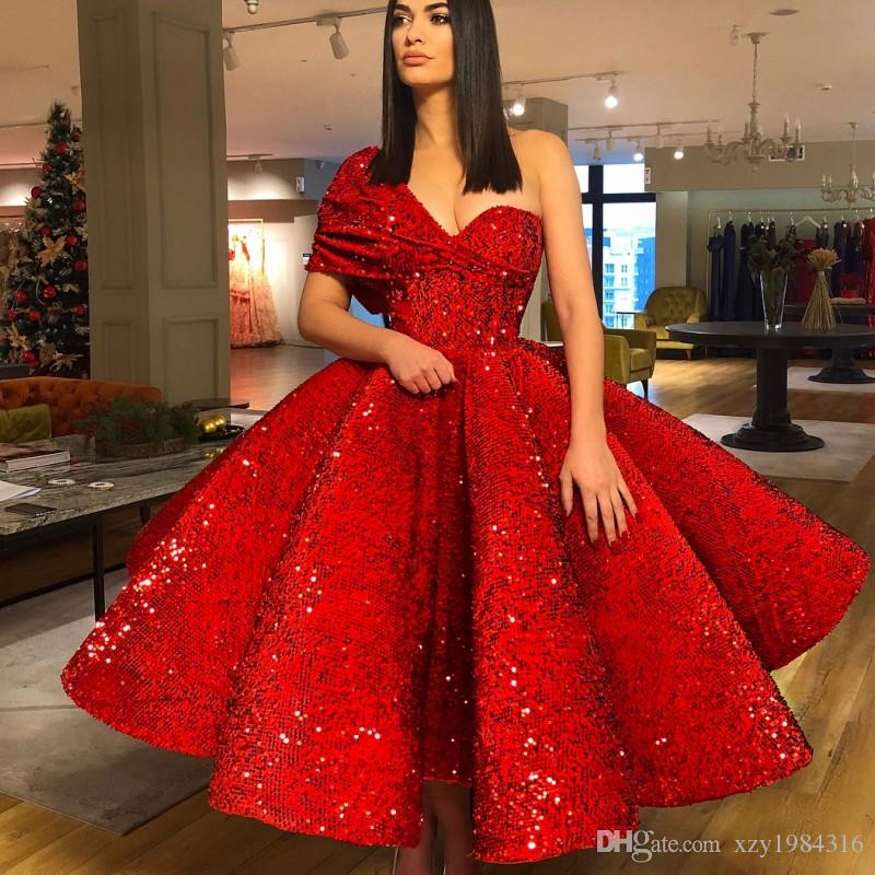 550df9794c Sparkling One Shoulder Prom Dress Luxury Red Sequined Short Sleeve  Celebrity Party Dress Sexy Ankle Length Formal Ball Gown Evening Dresses  Prom Dresses ...