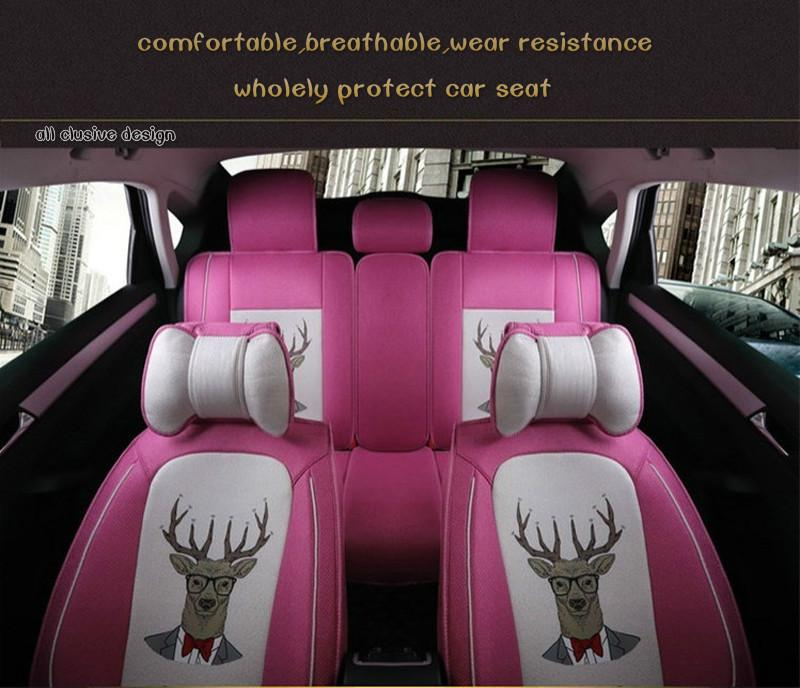 Ladies cloth art fashion cartoon series flax breathable and comfortable car seat cushion for BMW 320i 320Li
