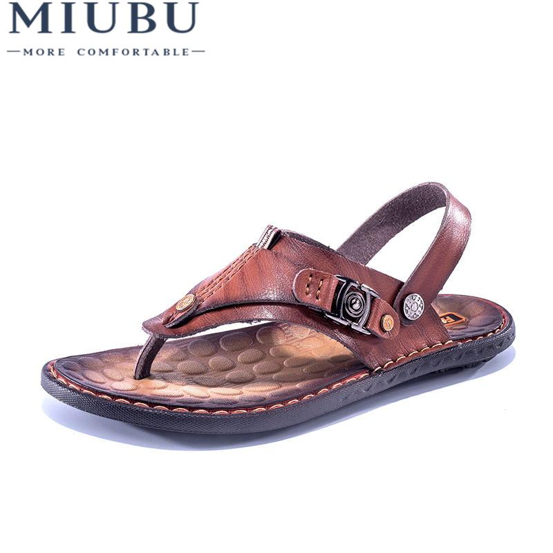 6a1da2b9a462a MIUBU Summer Genuine Leather Sandals Men Cool Slippers Men Flat Shoes  Slides Beach Shoes Two Ways To Wear Sandals Pink Shoes Salt Water Sandals  From ...