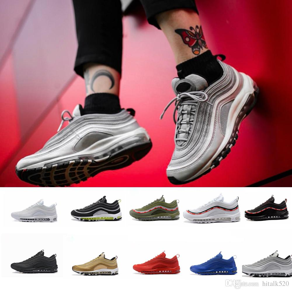 low priced 5bd30 bda2c Acheter Classique 97 Hommes Femmes Chaussures De Course Og Argent Or Bullte  Undftd Maxes Hommes Femmes Sneakers 97 S Chaussures Air Sole Sport Athletic  ...