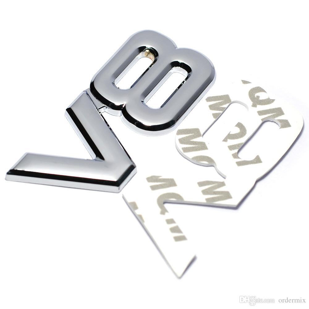 Auto Metal Alloy 3D V8 Logo Engine Displacement Trunk Rear Car Badge Decal Chrome V8 Side Wing Emblem Sticker Auto Car Styling