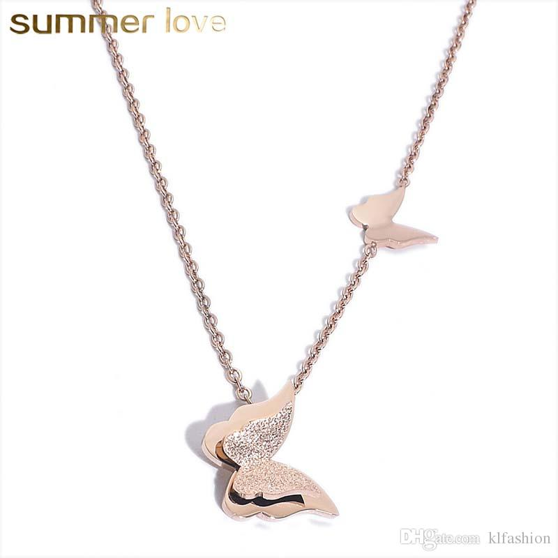 a9a7ed1652411 High Quality Stainless Steel Butterfly Pendant Necklace for Women Girls  Adjustable Sanding Link Chain Necklace Lovely Rose Gold Jewelry Gift