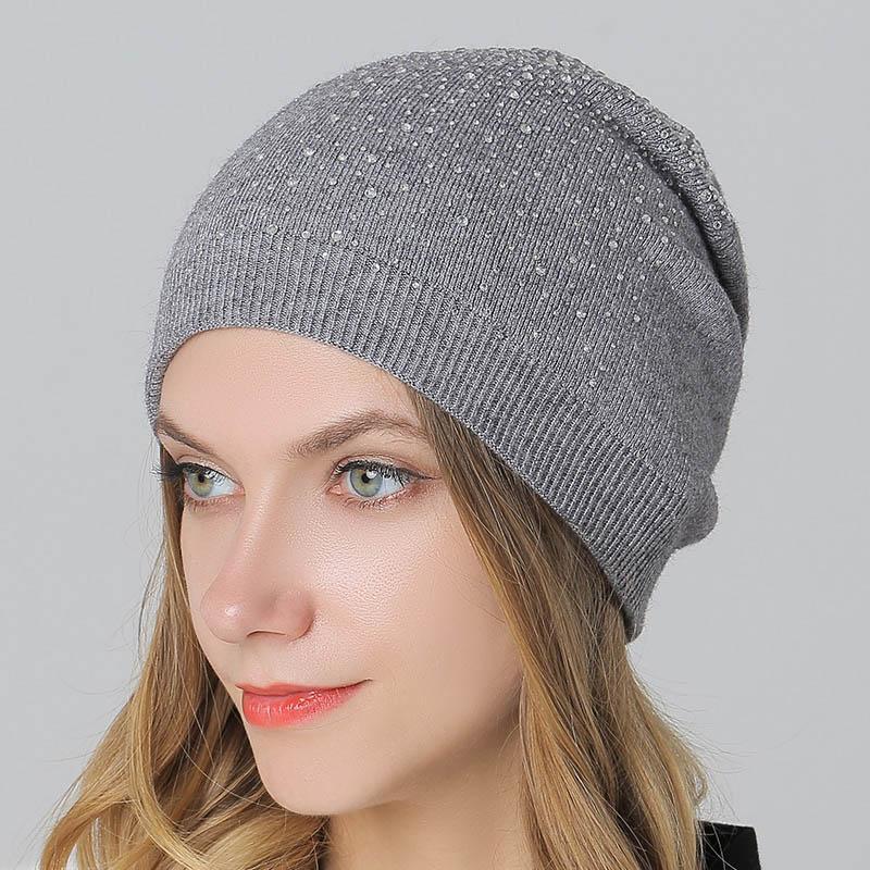 5a6cc7ad329e Sombreros de lana gorras para las mujeres invierno al aire libre Casual  Skullies gorros de algodón sombrero grueso con diamante moda Cap para damas  ...