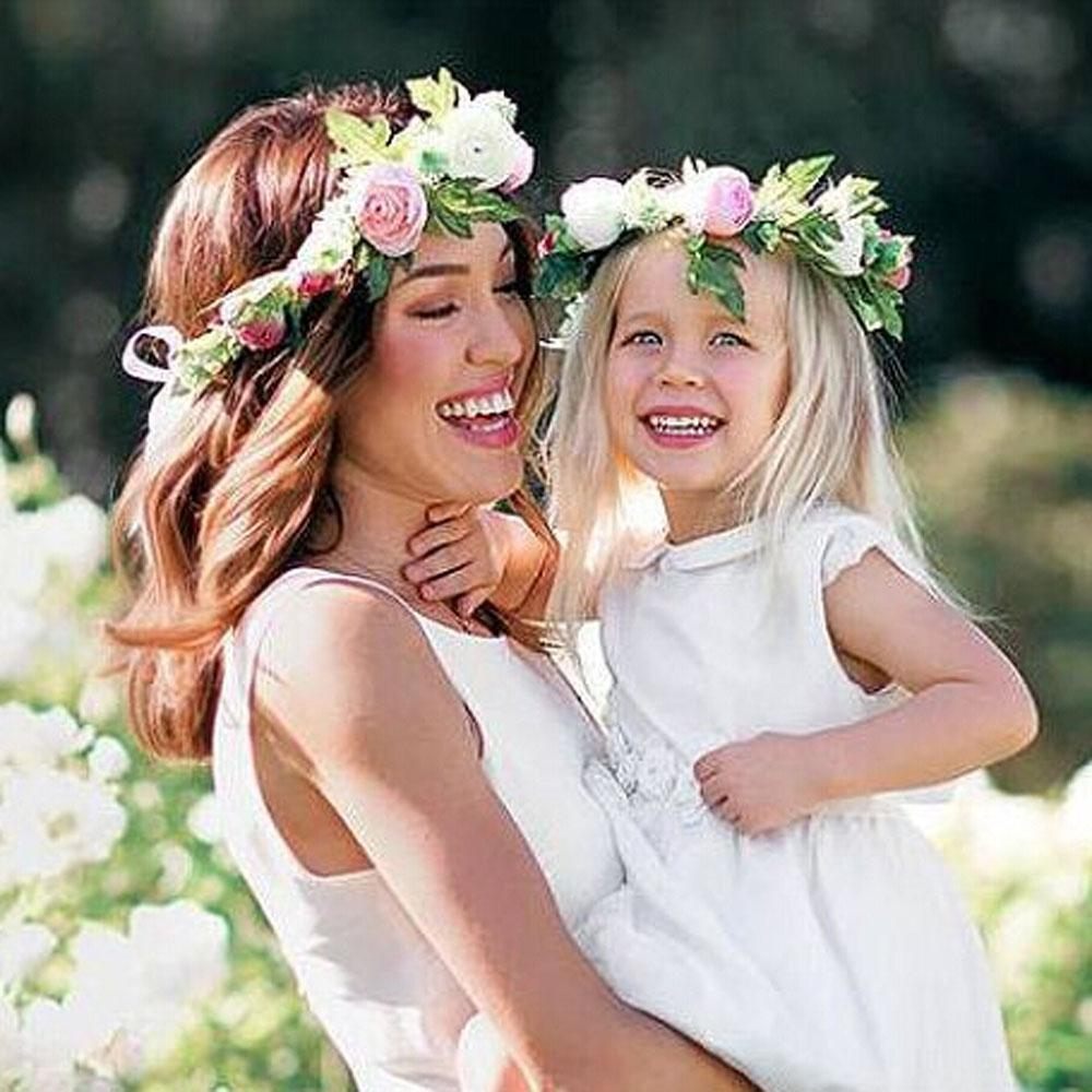 Mommy kids wreath rose flowers headband floral crown hairbands mommy kids wreath rose flowers headband floral crown hairbands wedding girls headwear headdress bride hair accessories cheap baby hair accessories from izmirmasajfo