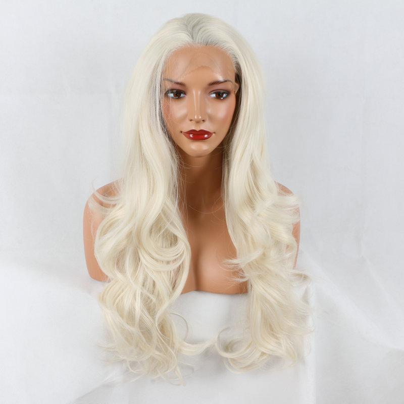Парики фронта шнурка светло-коричневые смешанные ombre шелковистые прямые синтетические парики фронта шнурка natuarl безклеевой термостойкие волокна волос для женщин