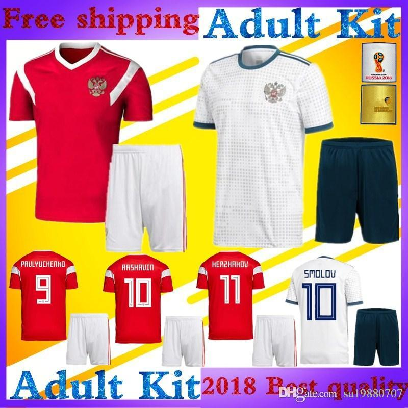 faa28cdedbd Adult Kits 2018 World Cup ARSHAVIN Russia Soccer Jersey Home Red ...