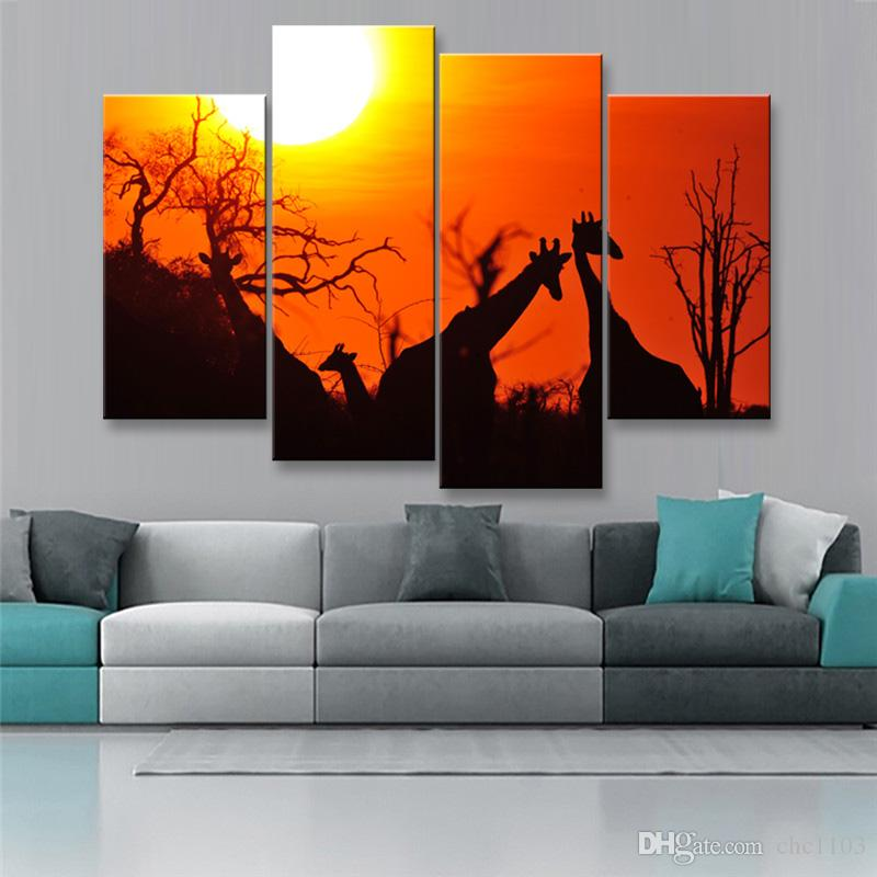 high-definition print African landscape canvas oil painting poster and wall art living room picture FZ4-005