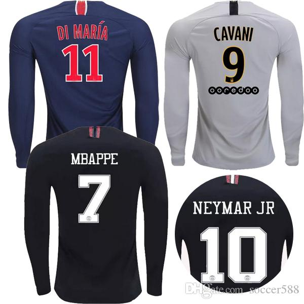 a99b7d364c6 2019 Thailand Maillot FULL LONG SLEEVE PSG Soccer Jersey 2019 Paris MBAPPE  Saint Germain Jersey 18 19 CAVANI Survetement 3rd Black Football Shirt From  ...