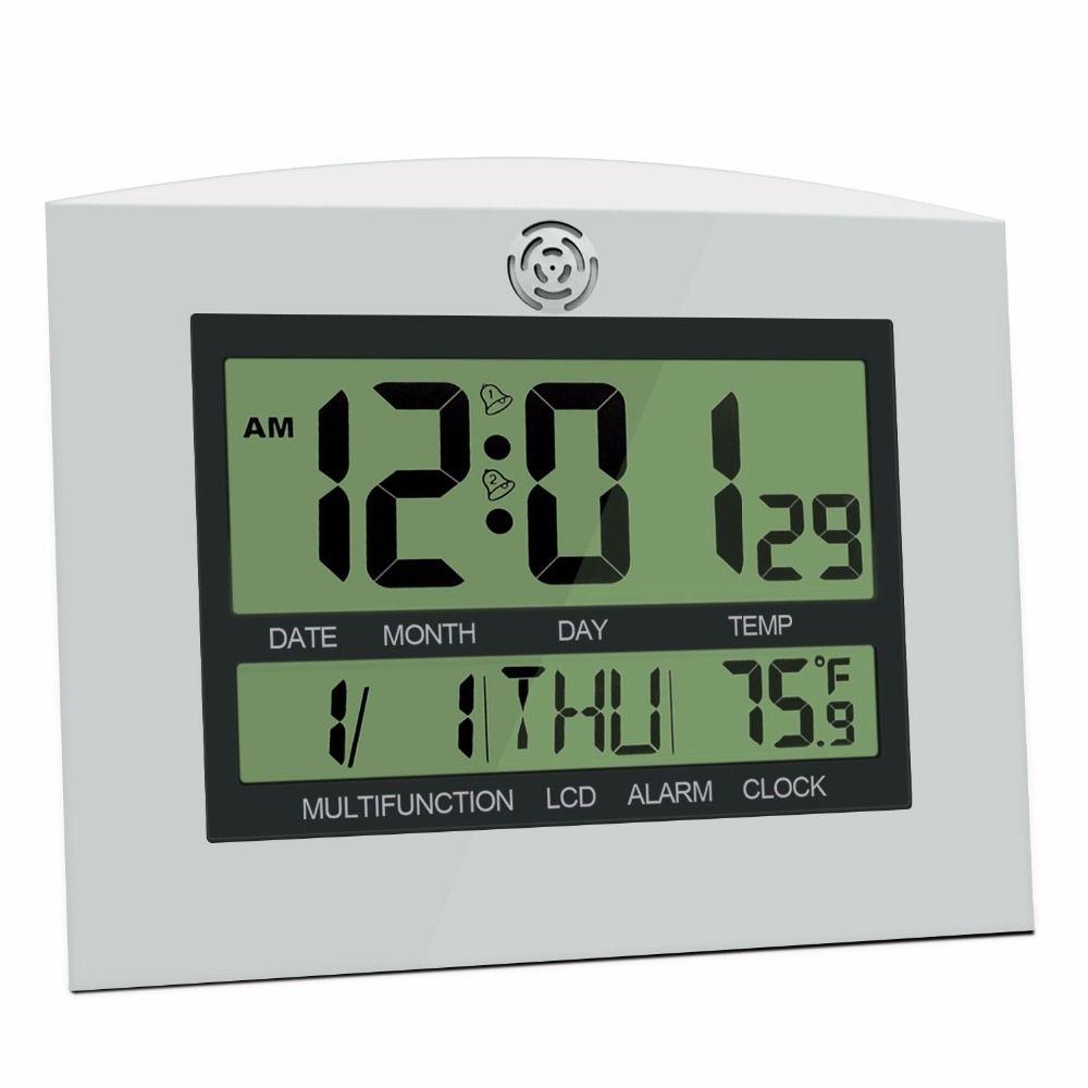b211fb4536c Compre Grande LCD Digital Relógio De Parede Mesa Relógio De Cozinha Horloge  Mural Wandklok Eletrônico Mesa Nixie Despertador Temperatura Calendário De  ...